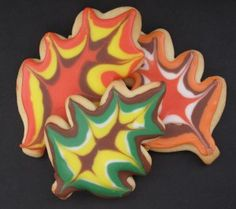 Iced Fall Leaves Sugar Cookies (with easy to do tutorial)