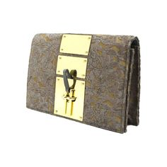 Nina Valero Sleek Transition Golden Plates Floral Calf Hair Grey... (3 195 UAH) ❤ liked on Polyvore featuring bags, handbags, clutches, grey, grey clutches, grey purse, gray purse, kiss-lock handbags and golden clutches