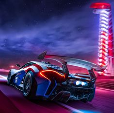 """6,249 Likes, 25 Comments - McLaren Automotive (@mclarenauto) on Instagram: """"Awesome night shot of this star-spangled P1™ GTR flaming blue at our COTA #puremclaren track event…"""""""