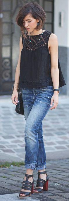 Lace Detail Black Tank #Fashionistas
