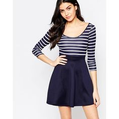 Club L Cross Back Skater Dress With Stripe Top And Contrast Skirt ($35) ❤ liked on Polyvore featuring dresses, navytopnavyskirt, tall dresses, striped skater dress, skater dress, blue sheer dress and high waist dress