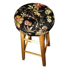 Our Felicite Black bar stool cushion is made in a Colonial reproduction print floral earth tones of red, olive and camel on black, perfect for a Colonial Williamsburg or Federal style décor. #black #barstool