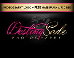 Custom photography logo, free watermark and PSD source file pink and gold photographer logo design, photo watermark design, photograph brand Business Logo Design, Business Branding, Watermark Design, Camera Logo, Photoshop Photography, Free Photography, Photographer Logo, Photography Logo Design, Initials Logo