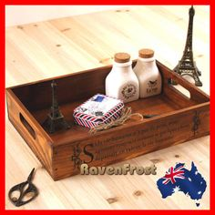 Rustic Oak Timber Wooden Tea Fruit Tray Breakfast Serving Tray Storage Crate New