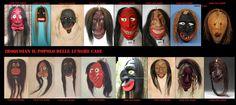 Le maschere.Le maschere sono considerate vive e sono nutrite con il tabacco. Hanno certe caratteristiche comuni (capelli lunghi neri o bianchi, gli occhi infossati, i nasi prominenti o storti, colorate spesso di rosso o nero).  Anche se non esclusivamente il tiglio è il legno più usato. Sono scolpite direttamente sull'albero,e rimosse a lavoro finito. Lo scultore è ispirato direttamente dallo spirito che vuole rappresentare.
