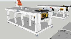 Large preview of 3D Model of Mobile Workbench with built-in table and mitre saws