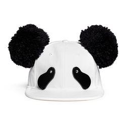 Piers Atkinson Strass eye pompom ear panda cap (2.745 RON) ❤ liked on Polyvore featuring accessories, hats, white, panel hats, panda baseball cap, baseball cap hats, panda bear hat and caps hats
