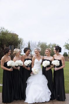 Black Bridesmaid Gowns | Sarah Bray Photography | TheKnot.com