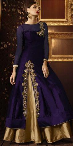 Alluring Purple Zari Work Anarkali Suit http://www.fashionfiza.com/salwar-kameez/anarkali-suits