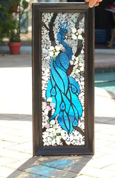 Turquoise blue Peacock Stained Glass Mosaic by ARTfulSalvage