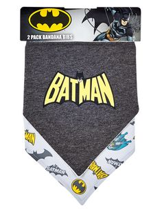 This handy pack includes two Batman printed bandana style bibs. Both have velcro openings at the back neck. Bandana Print, Bandana Bib, Bandana Styles, Baby Size, Baby Accessories, Bibs, Batman, Printed, Burp Cloths
