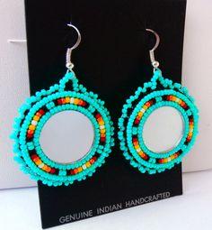 Powwow Style Round Beaded Earrings w/ 925 Sterling Silver Earring Hooks