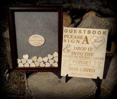 Heart Drop Box Wedding Guest Book Frame Walnut by BPLaserEngraving