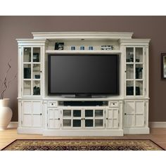 "Parker House Charlotte 4Pc 62"" Entertainment Wall in Antique Vintage White"