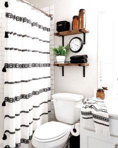 farmhouse bathroom design with striped shower curtain and open shelves in bathroom decor, neutral rustic bathroom, modern farmhouse bathroom, kid bathroom design White Bathroom Decor, Bathroom Design Small, Bathroom Interior, Bathroom Ideas, Small Bathrooms, Bathroom Shelves, Indian Bathroom, Lowes Bathroom, Light Bathroom