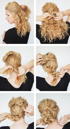 Beautiful Hairstyles On Curls Photos Styling On Medium - Beautiful Hairstyles On Curls Photos Styling On Medium And Long Hair Beautiful Curls Hairstyles Medium Photos Styling Today Pin Article By Frisuren Todaypin Com Curly Hair Styles, Curly Bun Hairstyles, Curly Hair Braids, Medium Hair Styles, Natural Hair Styles, Curly Hair Updo Tutorial, Natural Curly Hair Updos, Curly Up Do, Easy Curly Updo