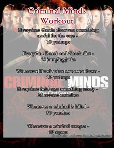 The Criminal Minds workout! Want to see a workout for your favorite show or movie? Check out the website to see Tv Show Workouts, At Home Workouts, Netflix Workout, Disney Workout, Exercise Workouts, Netflix Tv, Criminal Minds Workout, Trauma, Fox Sport