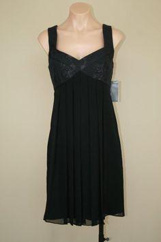 NWT Donna Ricco Black Pleated Silk Chiffon Empire Babydoll Shift Dress sz 12P #DonnaRicco #EmpireWaist #Cocktail