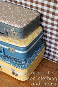 Make your own fabric covered suitcases. Cute idea. Stacked in a guest room would be adorable.