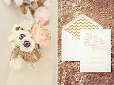gold and blush chevron #invitation by Southern Fried Paper