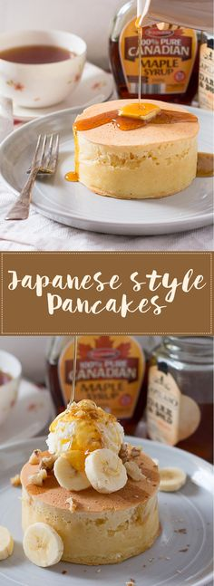 Extra thick and fluffy Japanese pancakes These Japanese style pancakes are extra thick, soft, moist, and fluffy, which also makes them extra delicious! No special skills or equipment are needed! Breakfast Recipes, Dessert Recipes, Desserts, Japanese Pancake, Homemade Pancakes, Pancakes And Waffles, Fluffy Pancakes, Cupcakes, Crepes
