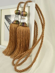 7 Colors QYM52 Polyester and Acrylic Curtain Tassel Tie Backs in Dark Brown Color