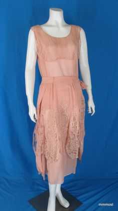 Vintage 1920s Peach Georgette Chemise Dress & Lace Overskirt & Collar stores.ebay.com/mmmosts-Old-time-Stuff-and-Threads