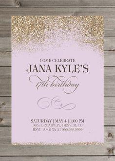 Girl's Birthday Party Glitter Invitation 5x7 by GaiaDesignStudios
