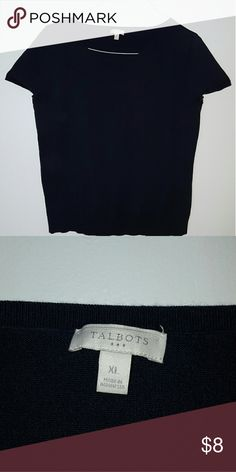 NAVY Summer Sweater Talbots short sleeve sweater.  Fair condition, no picks or pulls. Talbots Sweaters Crew & Scoop Necks