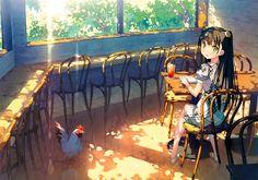 5_nenme_no_houkago animal bird black_hair book drink kantoku long_hair nagisa_(kantoku) original photoshop scan tree yellow_eyes