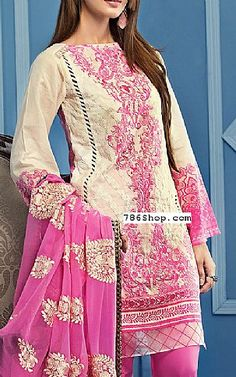 Off-white/Pink Lawn Suit | Buy Gul Ahmed Dresses
