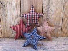 Primitive Star Bowl Fillers ~ Red White Blue Homespun Ornies ~ Americana Tucks #Primitive