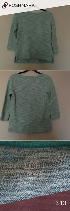 Ann Taylor Loft This bluish green and white sweatshirt is 3/4 sleeve length and has a high, low hem. Size xs and it is 60% cotton and 40% polyester LOFT Tops Sweatshirts & Hoodies