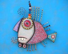 Twisted Fish 128 Found Object Wall Art by Fig Jam by FigJamStudio