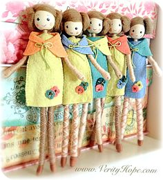 Wooden peg dolls by Verity Hope   by Verity Hope www.VerityHope.com