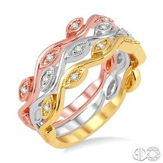 1/6 Ctw Marquise Shape Round Cut Diamond Triple Band Set in 14K Tri Color Gold www.christensenjewelers.com