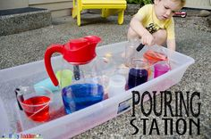 Share Tweet + 1 Mail   Is there anything better than a concentrating toddler dumping water all over the place? Our water pouring station is ...