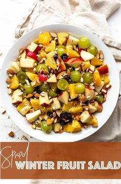 Don't have time to cook a side dish? This Winter Fruit Salad combines fruit slices, chopped almonds, and cinnamon infused vinaigrette for an easy, no bake or cook side. This is one of the best recipes to make and serve on a platter for your friends and family. Put it on a pretty Holiday tray and you're done! It's best to use seasonal fruit to save money and it's really healthy. Make this during the fall, for Thanksgiving, for Christmas or all winter long. #recipe #easyrecipe #fruit…