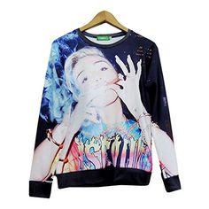 Unisex hipster Sweaters Star Miley Cyrus Smoking 3D Hoodies Shirt Sweatshirt (S)