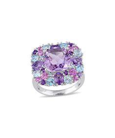 Look at this #zulilyfind! Gemstone & Sterling Silver Mosaic Ring #zulilyfinds