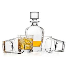 Shannon Crystal Marquis Whiskey Decanter and 4 Double Old-Fashioned Glasses Set  #ShannonCrystal