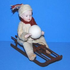 Antique German Large Heubach Bisque Sledder Candy Container | eBay