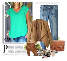 """""""http://www.zaful.com/v-neck-green-lace-splicing-short-sleeve-t-shirt-p_81783.html?lkid=2989   http://www.zaful.com/hole-bleach-wash-zipper-fly-jeans-p_74491.html?lkid=2989"""" by goldenhour ❤ liked on Polyvore featuring Soda, Nearly Natural and Chanel"""