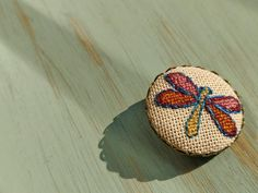 Dragonfly cross stitch pin on bronze frame, charm necklace, cross stitch jewelry, vintage style, gift for her Dragonfly Cross Stitch, Gifts For Her, Custom Design, Vintage Fashion, Bronze, Pendants, Colour, Antiques, Photos