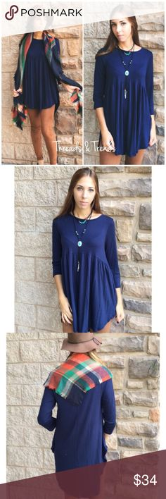 Navy Baby Doll Top Beautiful navy blue baby doll top. Very basic and can go with many different things.                                     Material: rayon & spandex  Measurements:  Small Bust 42 Length 32  Medium  Bust 44 Length 34  Large Bust 48 Length 38 Tops Blouses