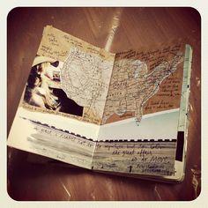 une page avec une carte de la bretagne dans mon summer scrapbook et je coche ou quoi partout ou je vais pendant l'été