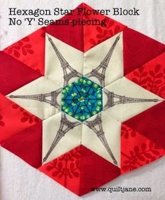 """Finished Size : 8″ x 9 1/2 """" 5″ sided hexagon The hexagon star flower block has always been one of my favourites. Traditionally pieced with 'Y' seams it can be …"""