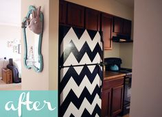 This fridge was originally black.  White contact paper cut in a chevron pattern adds a super fun look to an otherwise boring refrigerator.