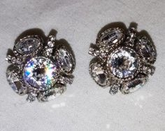 Vintage Oscar de la Renta Swarovski Crystal Button Earrings. Gift for Her. Popular Jewelry. Designer Signed Earrings. Wearable Art.