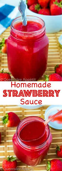 A simple 5-ingredient Homemade Strawberry Sauce. This sweet, fresh, thick and luscious sauce is the perfect topping for pancakes, waffles, ice cream, cheesecakes and more!